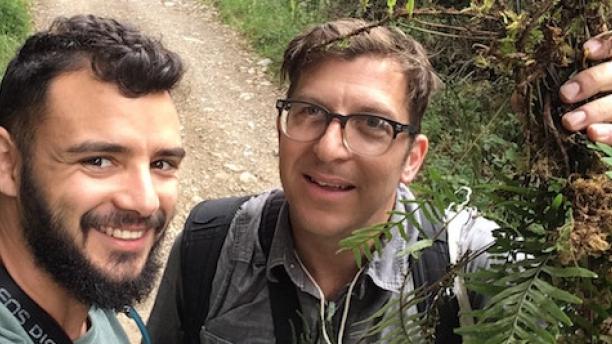 Weston Testo and Michael Sundue in the field