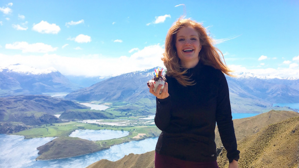 CESS student on a mountain top in New Zealand