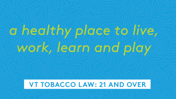 This blue graphic reads, a healthy place to work learn live and play