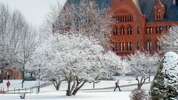 winter campus scene