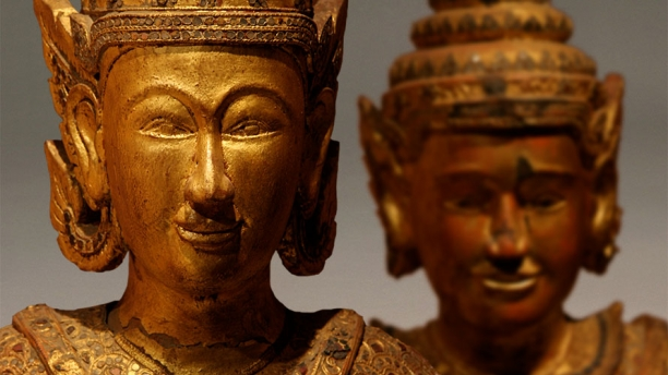 Detail of a pair of Burmese statues