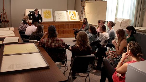 UVM art class meeting in the seminar room
