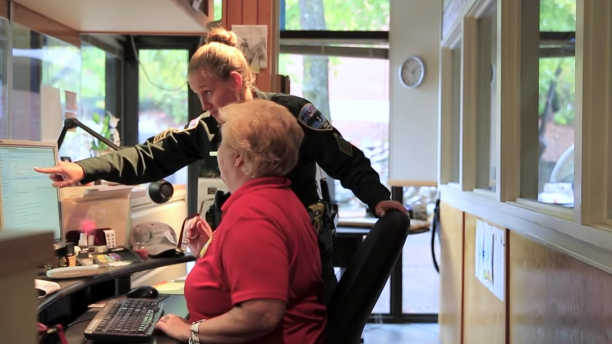 Sergeant Seller and our Office Administrator working together at the front desk