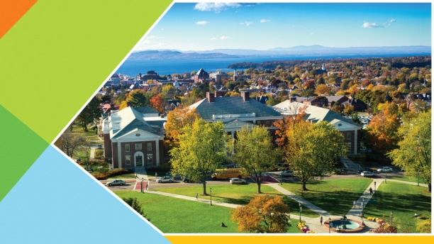 Arial view of the UVM green with a view of Lake Champlain