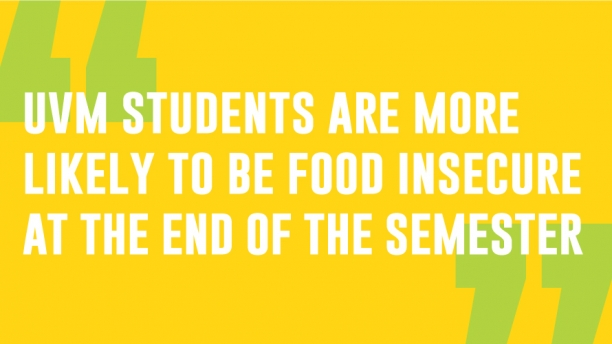 UVM students are more likely to be food insecure at the end of the semester