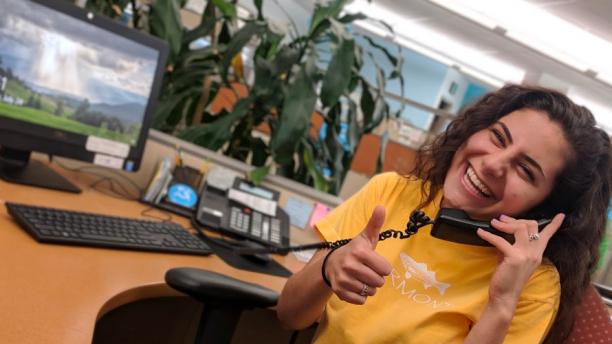 student employee answering phone