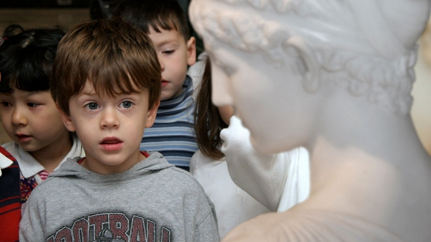 A young student explores the Marble Court