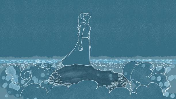 "Detail from Glynnis Fawkes' ""Roaring Ocean."""