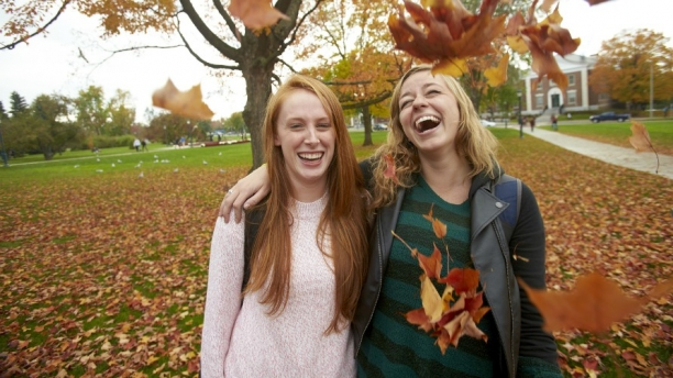 Students on the UVM green.