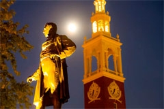 Lafayette statue in the moonlight