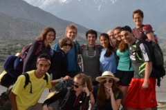 A student group gathers in Nepal