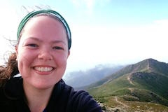 Social Work student hiking in mountains