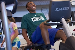 Studying exercising in fitness center