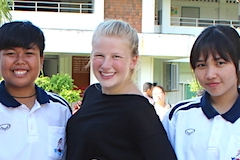 Meg Zeigler with students in Thailand as a Fulbright Scholar