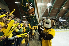 UVM mascot Rally and fans at Gutterson ice hocky arena