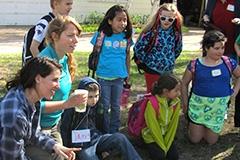 Students teaching kids