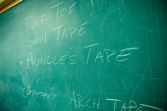 Athletic training classroom blackboard