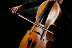 Close up of a bow stroke on a cello