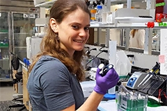 A female student working in the lab