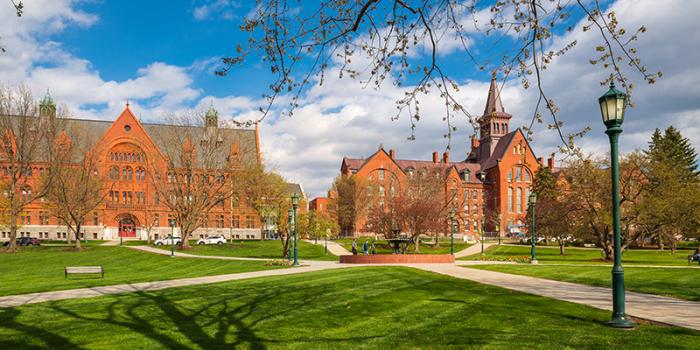 campus buildings in spring