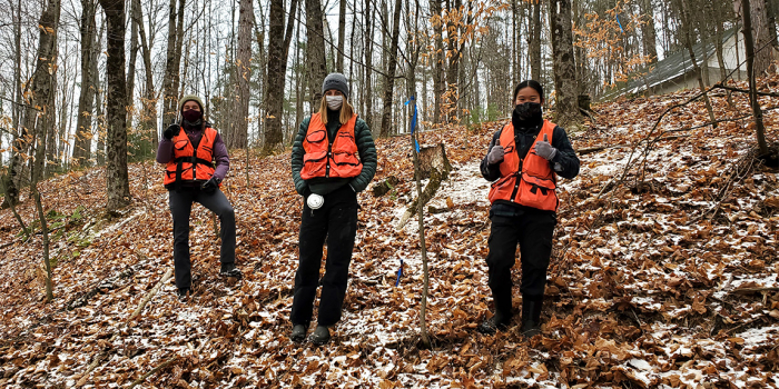 Three students in orange vests and face masks stand in forest in the fall