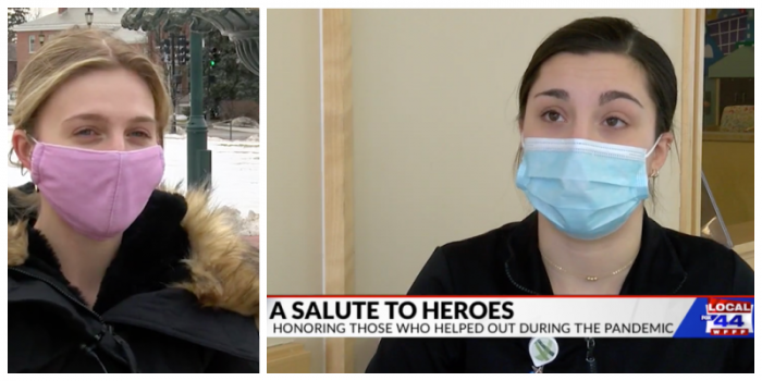 Screen shots from television news story showing interviews with two nursing alumni, both wearing masks.