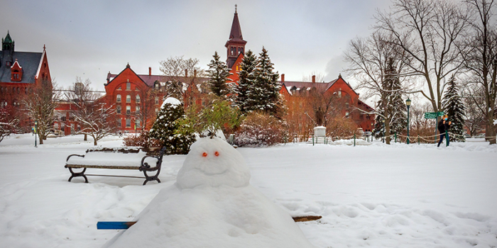 snowman on the campus green