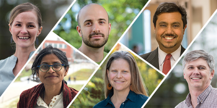 Photo composite of the six researchers whose projects received COVID-19 Rapid Research Fund funding