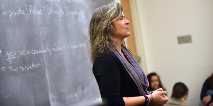 Celia Cuddy teaching in the Social Work program at UVM.
