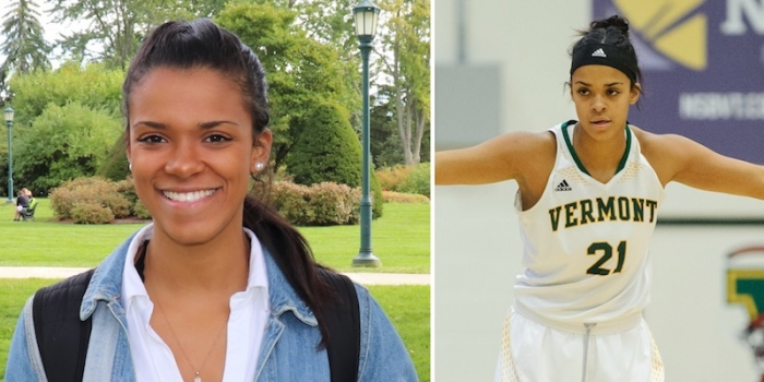 Courtney Wright (left) smiling on campus and (right) looking intense on the basketball court.