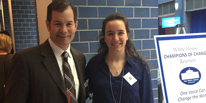 Gina Fiorile stands with fellow speaker Mike Richter