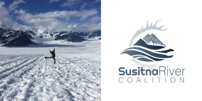 Laura Pinover on a glacier and Susitna River Coalition logo