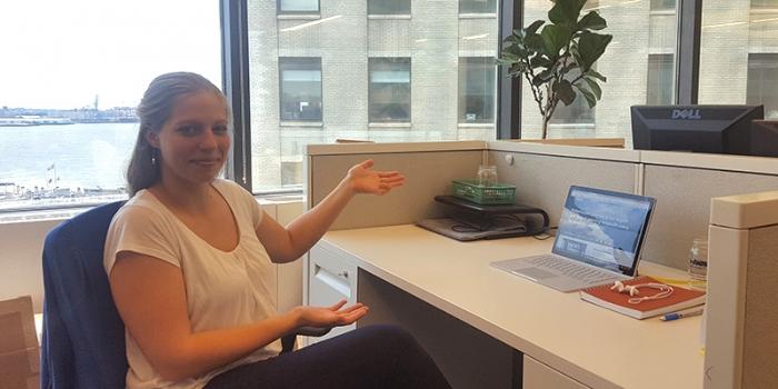 Intern at her desk at Waterkeeper Alliance