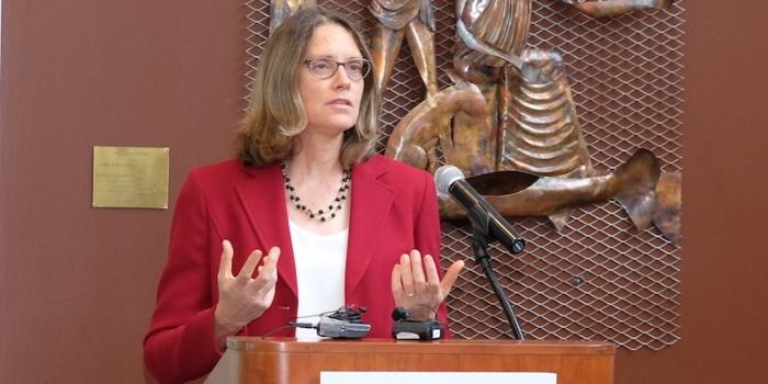 Beth Kirkpatrick presenting at TGIR-COBRE press event