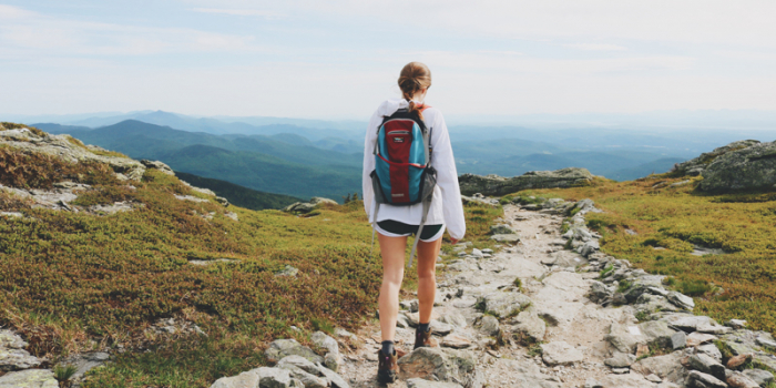 woman hiking on a mountain