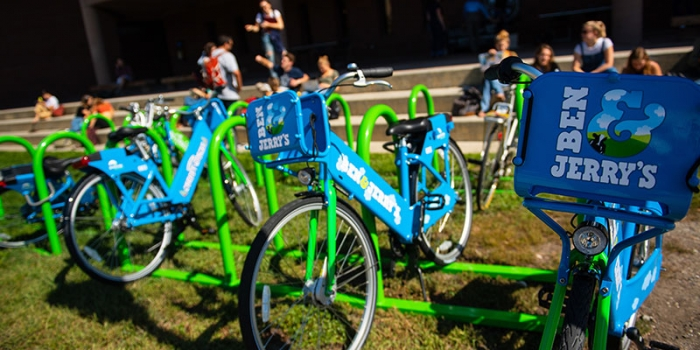 GreenRide bike shares at a bike rack on central campus