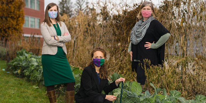 An image of UVM food security researchers Meredith Niles (left), Emily Belarmino (center), and Farryl Bertmann (right).