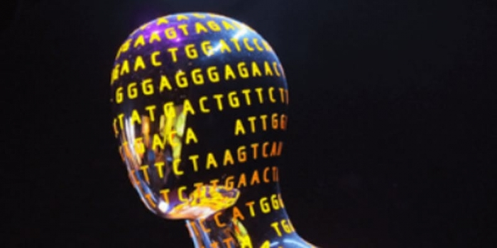 stylized human head with genome lettering