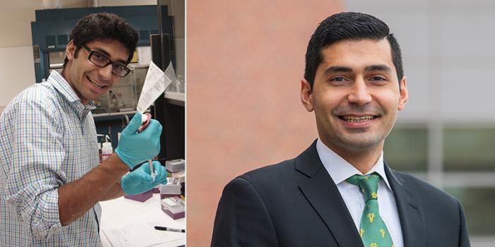 left: Berke Tinaz in lab; right: Tinaz headshot