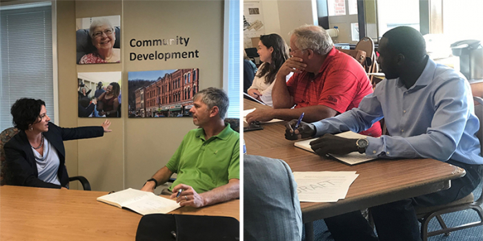 Left: VT Housing Finance Agency Executive Director, Maura Collins (MPA '07), talks with MPA Program Director Chris Koliba about developing paid internship opportunities with her agency; right: Current MPA student Samuel Dingba at his internship with the A