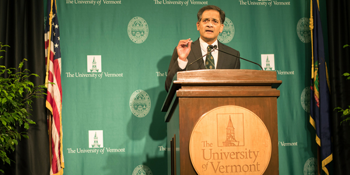 UVM President Suresh Garimella speaks at podium