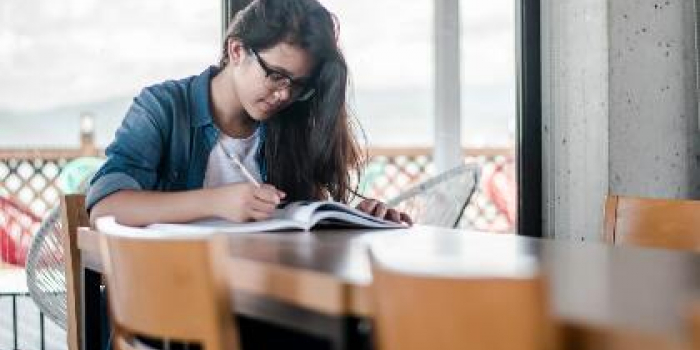 Girl writing in a notebook on a desk