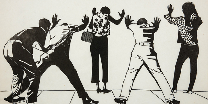 """A linocut print by Sabra Fields, """"Plainclothesman and Residents: Watts,"""" captures a moment from race riots in 1964 Los Angeles."""