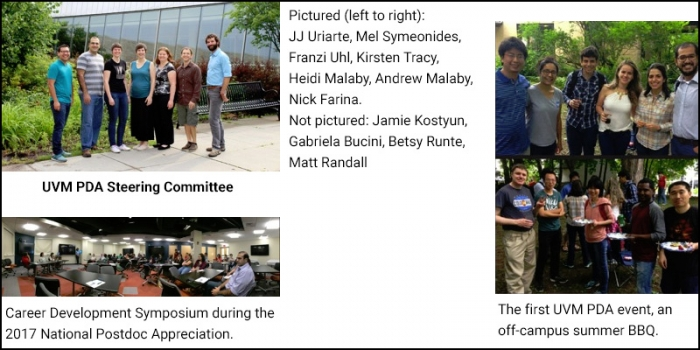 UVM PDA Steering Committee, summer BBQ, and Career Development Symposium