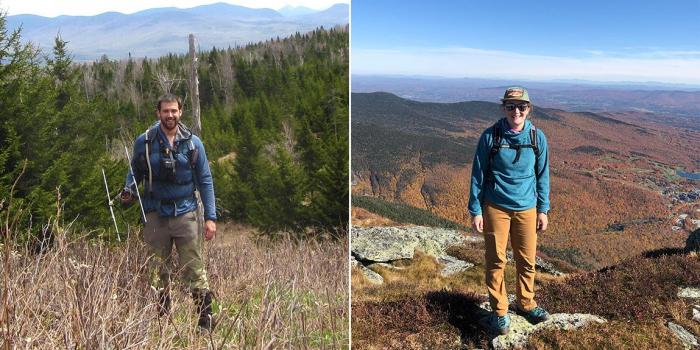 Elias Rosenblatt stands in field in Vermont's Northeast Kingdom and Kenna Rewcastle stands atop Mount Mansfield