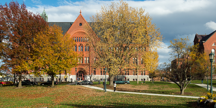 UVM Green in fall colors with Williams Hall in the background