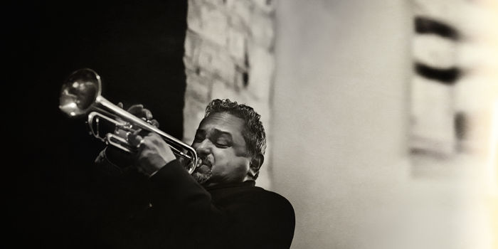 Ray Vega playing trumpet at Hotel Vermont