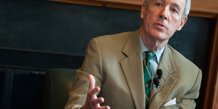 Former UVM President Sullivan in his office on campus