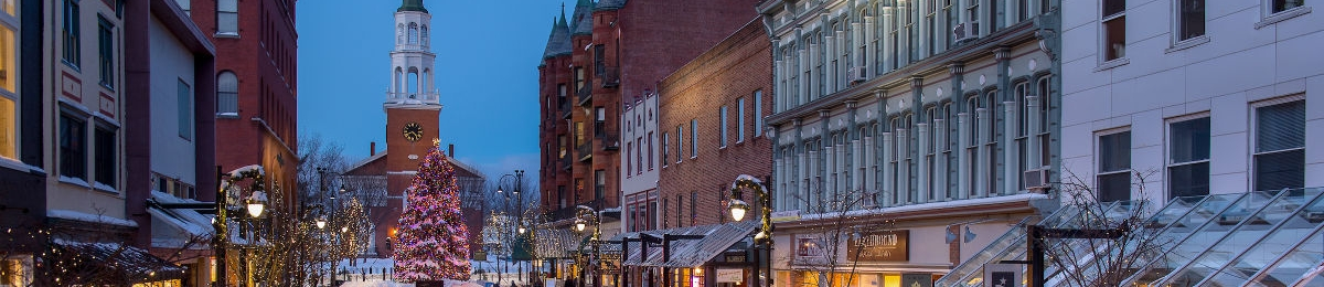 looking up church street at the holiday tree lights