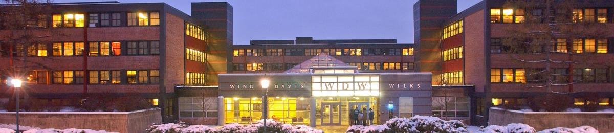 View of Wing-Davis-Wilks Res Hall in winter